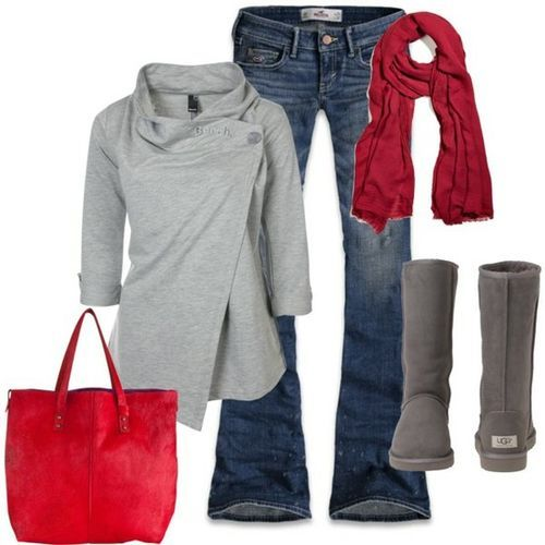 ♥ fall clothes!: Red Accents, Ugg Boots, Casual Outfit, Dream Closet, Fall Outfits, Red Grey, Winter Outfits, Grey Red, Fall Winter
