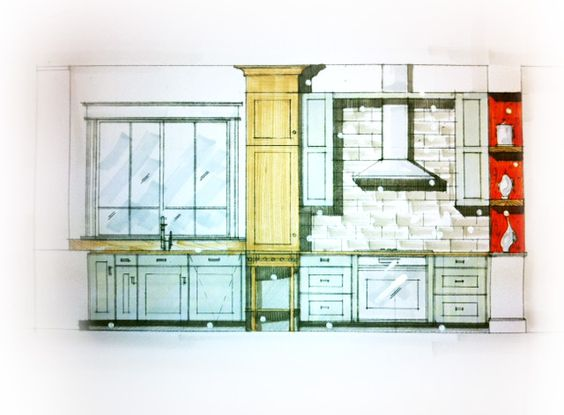 Modern Kitchen Sketch Concept Interiors Pinterest Modern Kitchens Modern And Sketches