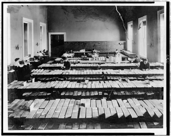 People working in Card Division in the Library of Congress, Washington, DC, 1910s.