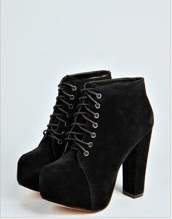 Holly Suedette Block Heel Boot from Boohoo.com!! #Boohoo !!