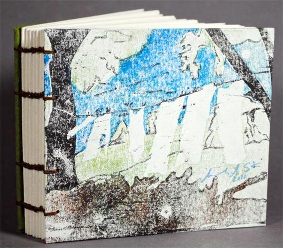 Heidi Jeub, Laundry Book-Coptic Stitch, Wood cut print, watercolor paper