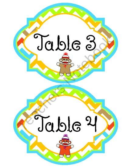Classroom Theme - Sock Monkey (Name Tags, Clip Art, Months, etc ...