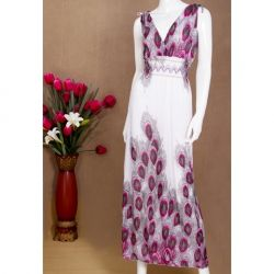 $5.93 Charming V-Neckline Peocock Patterns Sleeveless Maxi Dress For Women