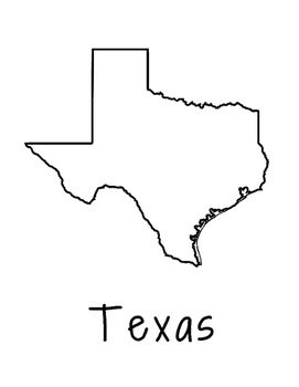 Texas State Map Coloring Page. Use this coloring page for state research projects and allow your students to be creative with their pages.