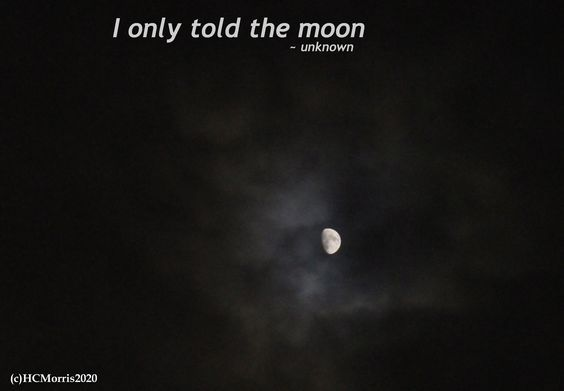"a bright moon with words ""I only told the moon"""