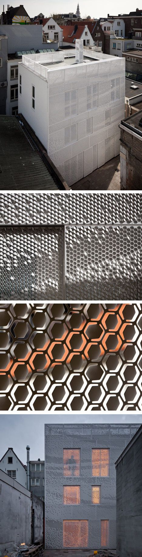 Bent by Chris Kabel with Abbink X de Haas. A facade of perforated hexagons that catches the light like a hanging sheet of fabric, If they are bent upwards they reflect the light and bending downwards they become darker pixels.