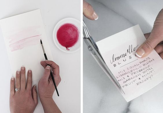 Watercolor cocktail recipe cards today on Spread the Spring - Earnest Home co.