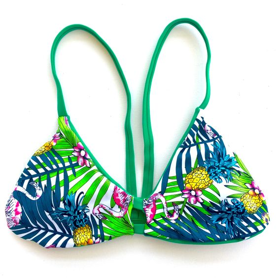 Reversible V-Back Bikini Top - Green/Palm (Huntington)