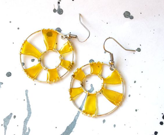 Earrings Suns from wire with yellow resin  Free by LyamayevaCraft,
