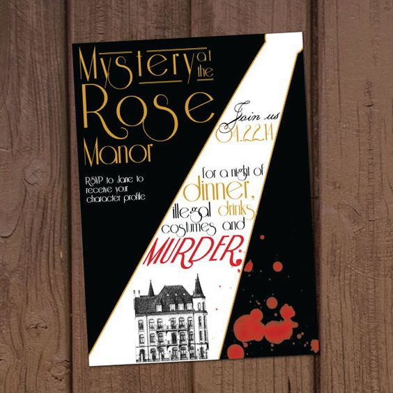 1920 39 s murder mystery dinner party invitation pinterest for Secret dinner party
