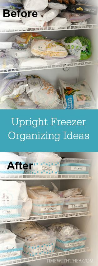 Upright Freezer Organizing Ideas ~ Tips and ideas for organizing your upright freezer using a labeled bin system so it easy to find and keep track of foods!   Time With Thea