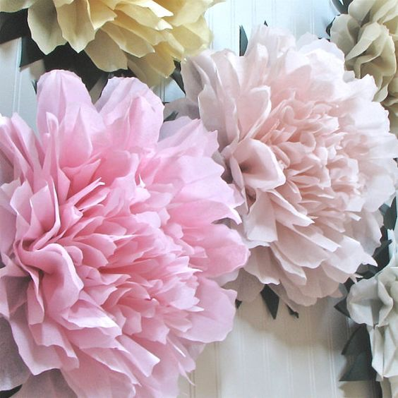 LUCKY PEONY. 5 Giant Tissue Paper Flowers, wedding decoration, baby/bridal shower, dessert table, nursery decor, Party Blooms by Whimsy Pie