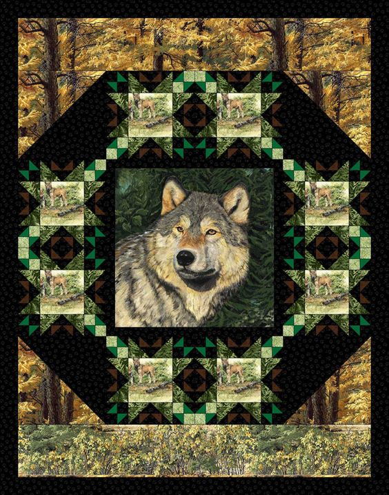 Image detail for -... the beauty of the timber wolf with this scenic wilderness print quilt: