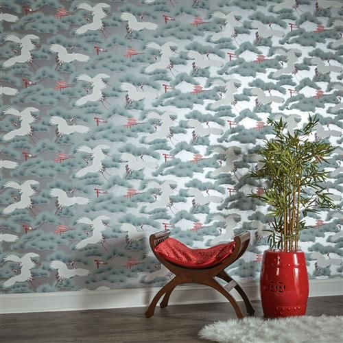 Silver Metallic Asian Toile Crane Bird Removable Wallpaper In 2021 Removable Wallpaper Self Adhesive Wallpaper Wallpaper