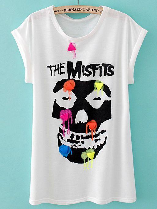 White Short Sleeve Skull Print Rivet T-Shirt