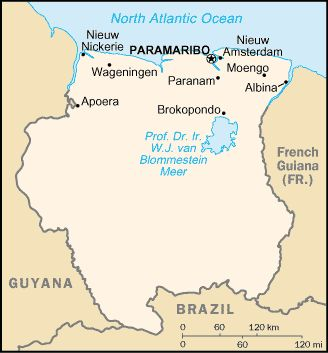 Country of Suriname Map