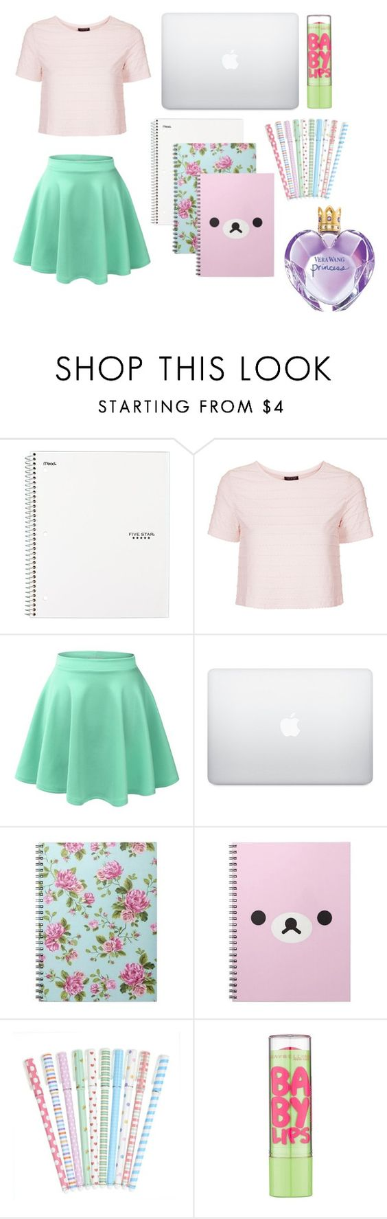 """""""green"""" by evkmob ❤ liked on Polyvore featuring Topshop, LE3NO, Maybelline and Vera Wang"""