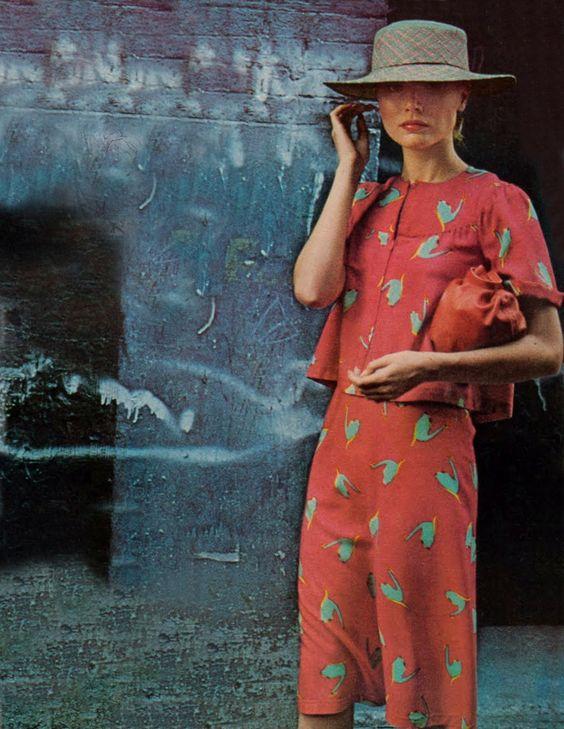 Vogue January 1975, dress Stephan Burrows