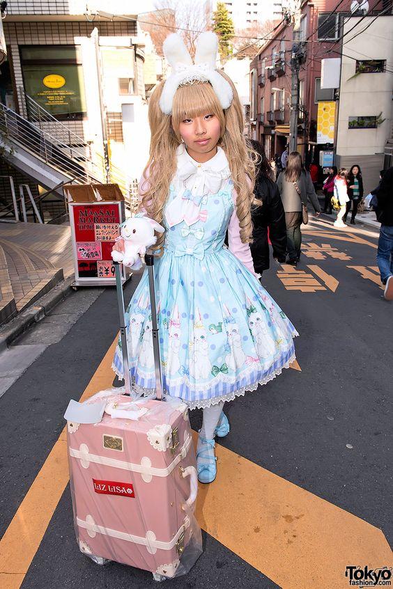 Angelic Pretty Sweet Lolita Mei w/ Bunny Ears & Liz Lisa Lucky Bag in Harajuku