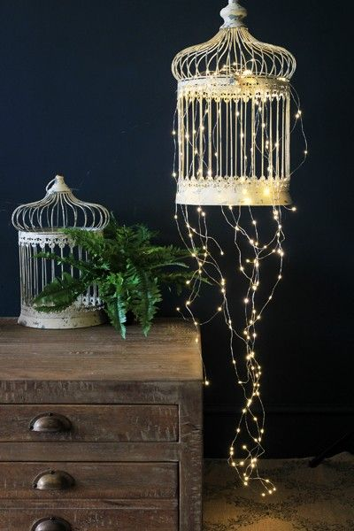 Birdcage with fairylights: