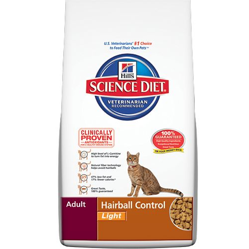 Hill's® Science Diet® Adult Hairball Control Light (283 kcal/cup) - Chicken By-Product Meal, Brewers Rice, Corn Gluten Meal, Whole Grain Corn, Powdered Cellulose, Chicken Liver Flavor, Lactic Acid, Soybean Oil, Animal Fat