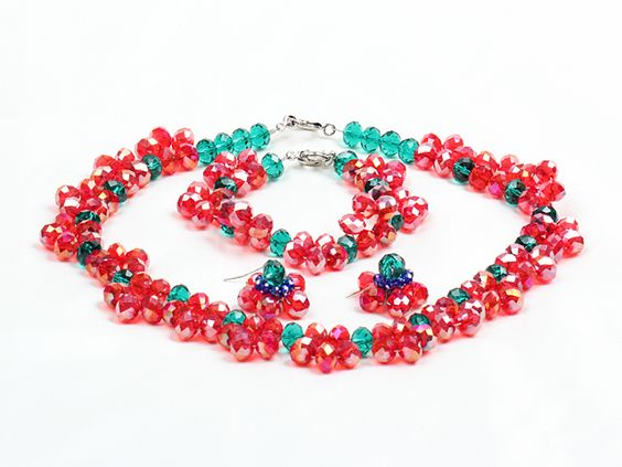 Fancy Style Red Green Crystal Flower Jewelry Set (Necklace With Mathced Bracelet And Earrings)