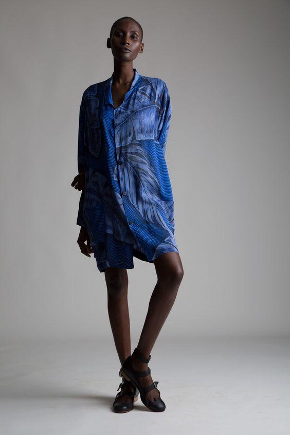 vintage yohji yamamoto palm print shirt dress designer