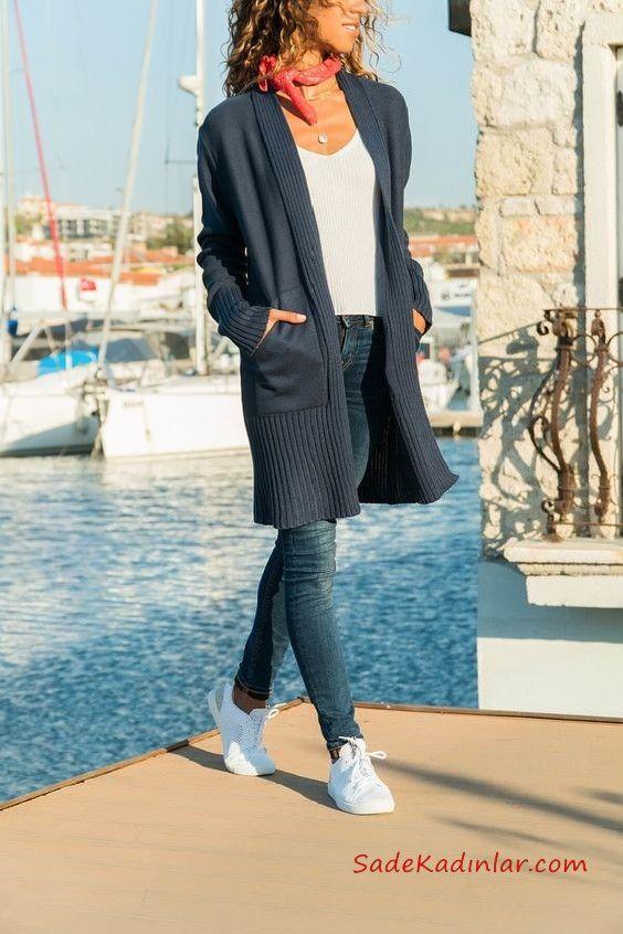 2019 Hirka Kombinleri Lacivert Skinny Pantolon Beyaz Bluz Lacivert Uzun Hirka Beyaz Spor Ayakkabi Hirkalar Skinny Moda Stilleri