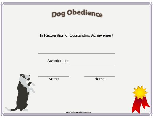 This printable certificate of dog training or achievement is - free training certificates