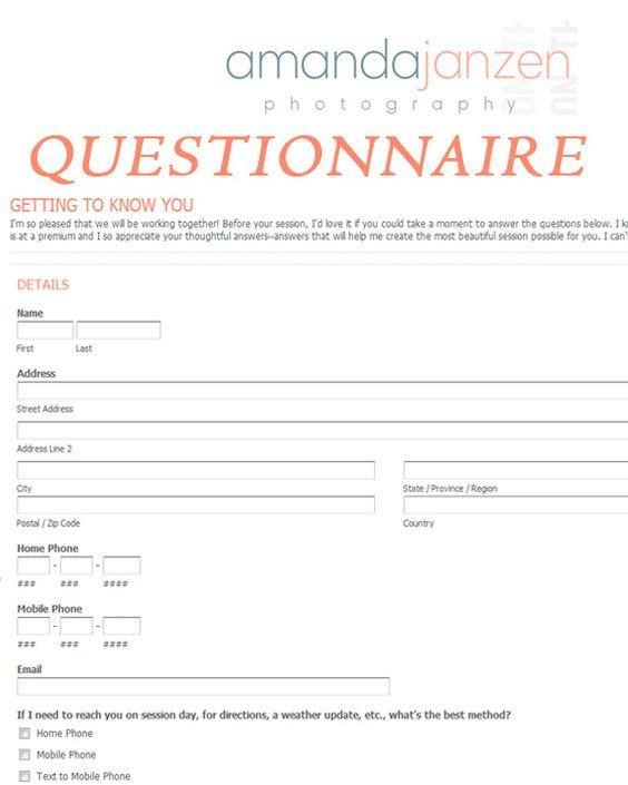 Client Questionnaire Getting to Know You for business - photography copyright release form
