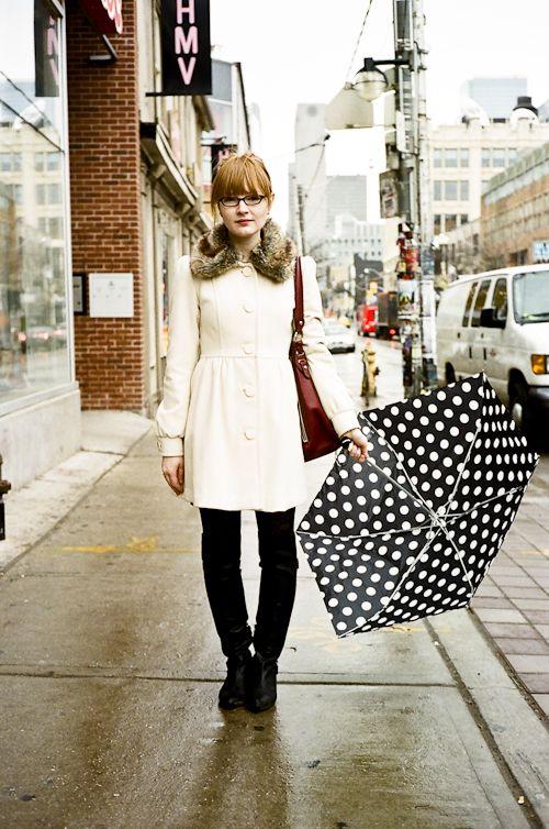 umbrella fashion: Dotted Umbrella, Polka Dots, Polka Dot Outfit, Fashion Week, Dots Dots Dots, Polka Dot Fun, Dots Umbrella, Dot S Dots