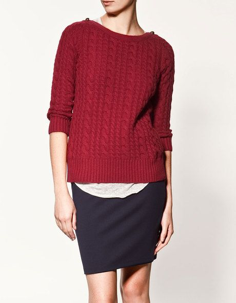 Zara Cable Stitch Sweater, red