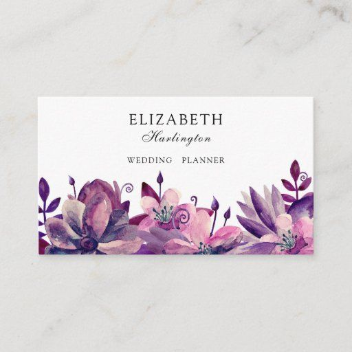 Pink And Purple Flowers Florals Card Botanical Business Card Zazzle Com In 2021 Pink And Purple Flowers Purple Flowers Flower Business