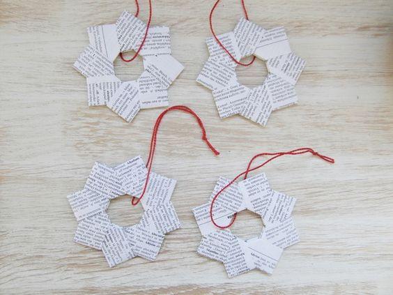 Set: 4 Sterne *Origami *Papier *Vintage *Anhänger