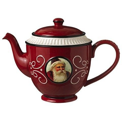 Christmas Teapot in Black and Red with Cream Accents