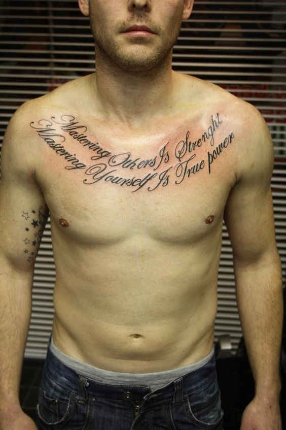 Script chest tattoo chest pieces script lettering for Chest tattoo writing