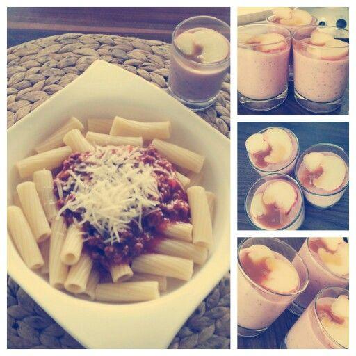 #nudelnmitbolognese #frischetomaten #hackfleisch #kräuter #erdbeeren #banane #weißerpfirsich #chiasamen #selfmade #foodporn #antitütenkochen