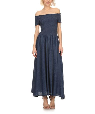 Love this Blue Smocked Off-Shoulder Maxi Dress on #zulily! #zulilyfinds