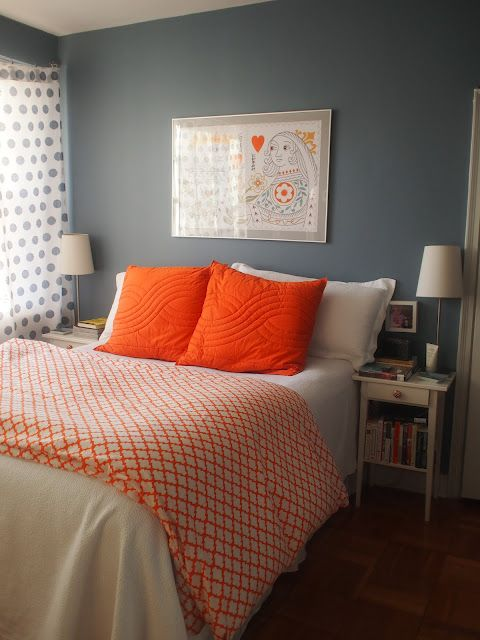 75th And Sedgwick Blue And Orange Bedroom Duvar Rengi Pinterest Bed Wall Love The And