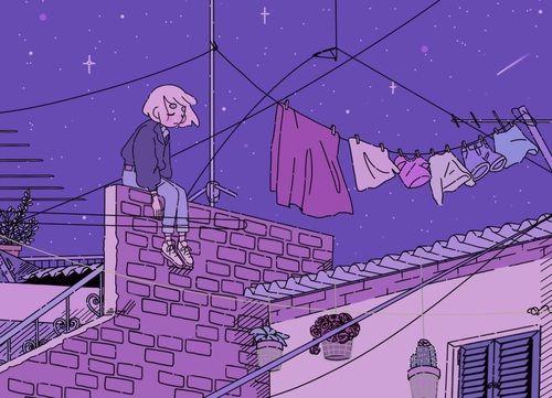 Imagem de purple, art, and night