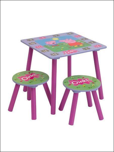 Questo fantastico set è perfetto per ogni cameretta a tema Peppa Pig. Sul tavolo sono stampati anche i numeri per giocare!   Il set è in MDF.  Misure tavolo: 44cm x 50cm x 50cm.   Sgabelli:27cms x 27cms x 27cm. Facile da montare.  Dai 2 anni in sù.   solo su http://www.robedacartoon.it/tutto-il-catalogo/in-cameretta/arredamento/tavolinetto-e-seggiole-peppa-pig-8418.html