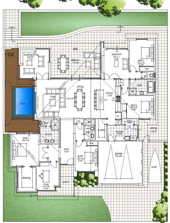 Big family home floor plan with amazing high ceilings for Modern family home plans