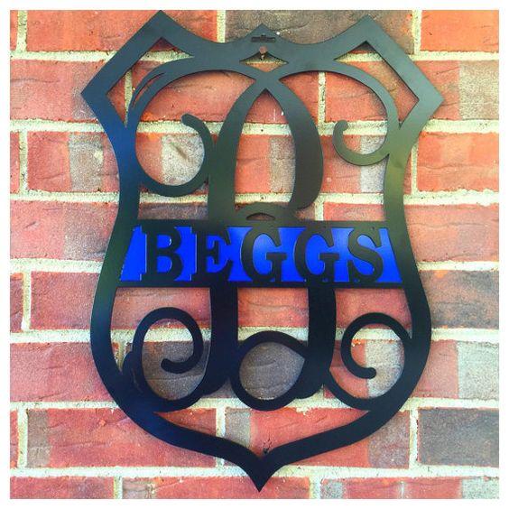 Police Badge Monogrammed Door Wreath 22 / by housesensations