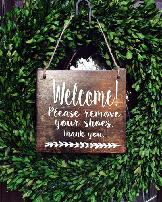 *********************************************************************************  Welcome! Please Remove Shoes. Thank You Wood Door Sign /