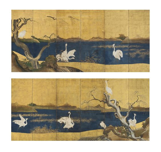 Kano school (17th Century) Herons and willows by a stream in spring and winter Pair of six-panel screens; ink, color and gold leaf on paper