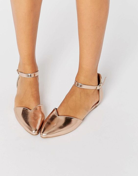 Head over Heels By Dune Hyrah Rose Gold Flat Shoes | Shoes ...
