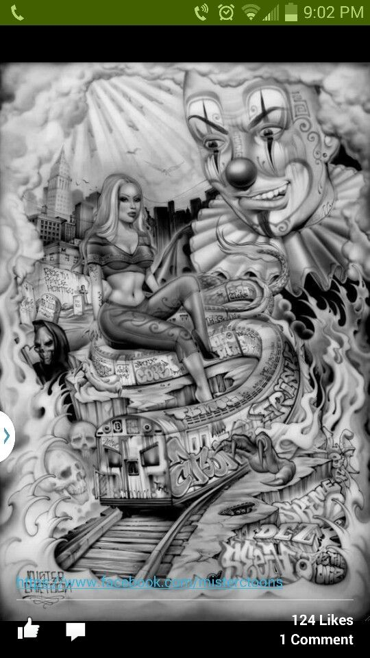 Chicano art chicano and clowns on pinterest for Aztec mural tattoos