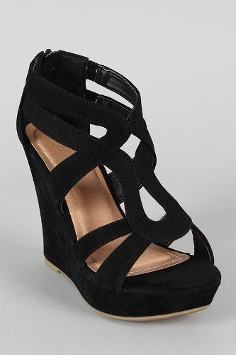 Lindy 66 Strappy Open Toe Platform Wedge Black | Stitching, Air ...
