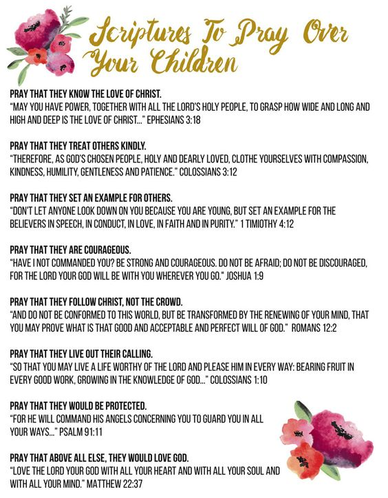 Scriptures To Pray Over Your Children. As school starts back use this as a guide this school year to pray over your children. #bekidsmobile #prayer #school