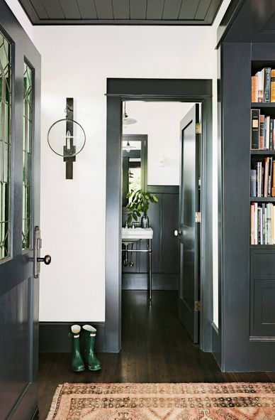 Black trim, black doors, black ceiling